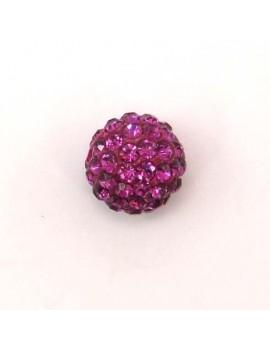 Perle strass 12 mm fuchsia
