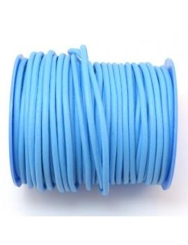 Cuir rond naturel 3 mm bleu...