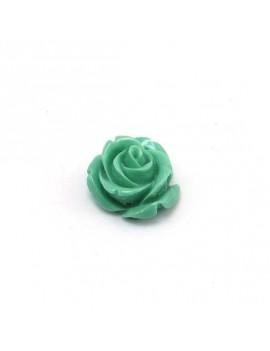 Rose en résine turquoise 15 mm
