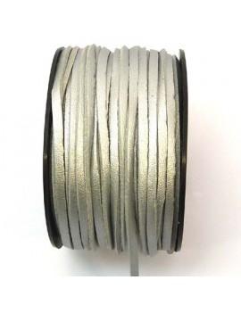 Daim 3 mm gris argenté imitation cuir - 50 cm