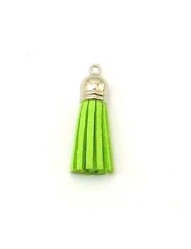 Pompon résine et daim vert...