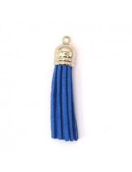 Pompon résine et daim bleu...