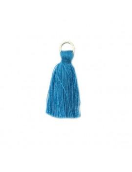 Pompon coton bleu 30 mm