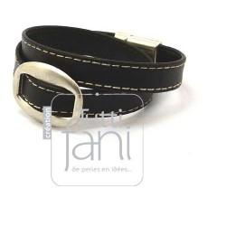 Bracelet cuir surpiqué noir...