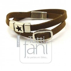Bracelet double daim marron...
