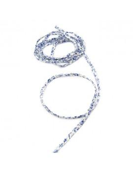 Cordon Liberty Michaël fond blanc fleurs bleues - 25 cm