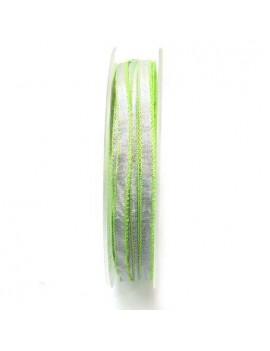Ruban argenté bordé vert 5 mm
