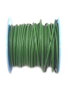 Cuir rond naturel 2 mm vert...