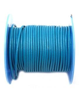 Cuir rond naturel 2 mm bleu...