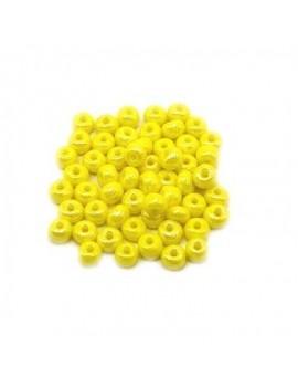 Rocailles 4/0 - 5 mm jaune opaque lustré - 11grs