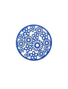 Estampe ronde bleu electrique motif fleur 33 mm