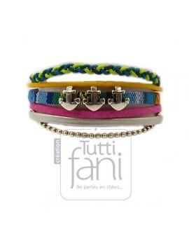 Bracelet manchette 20 mm coloré passants ancres