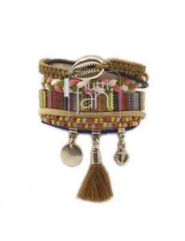Bracelet manchette camel et...