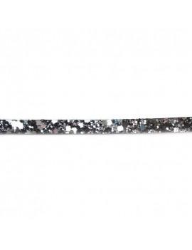 Cuir plat pailleté gris foncé 6 mm