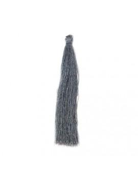 Pompon polyester gris 90 mm