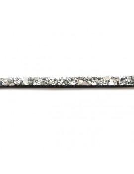 Cuir plat pailleté argenté 5 mm