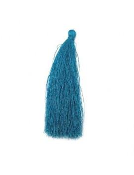 Pompon polyester bleu océan 90 mm