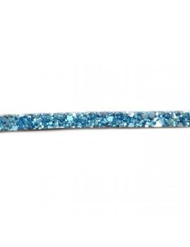 Cuir plat pailleté bleu 6 mm