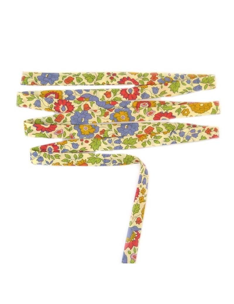Biais Liberty d'Anjo fond beige fleur bleu et jaune - 25 cm