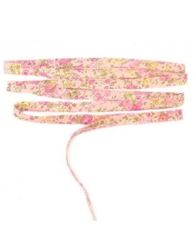 Biais Liberty Tatum fond rose fleur rose et vert - 25 cm