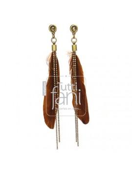 Boucles d'oreilles longues plumes marrons et chaine bronze