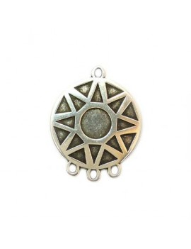Médaille soleil 3 anneaux 30 mm argent vieilli