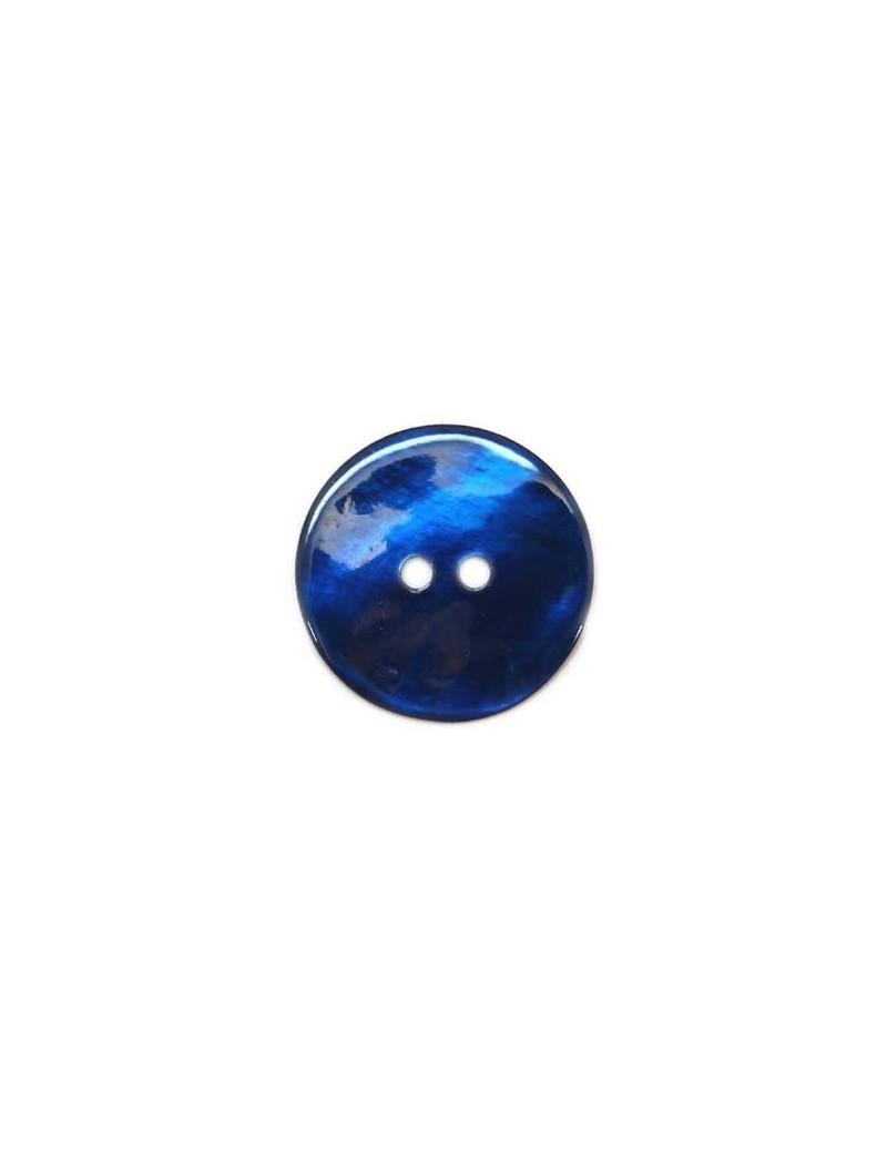 Bouton en nacre bleu marine 28 mm