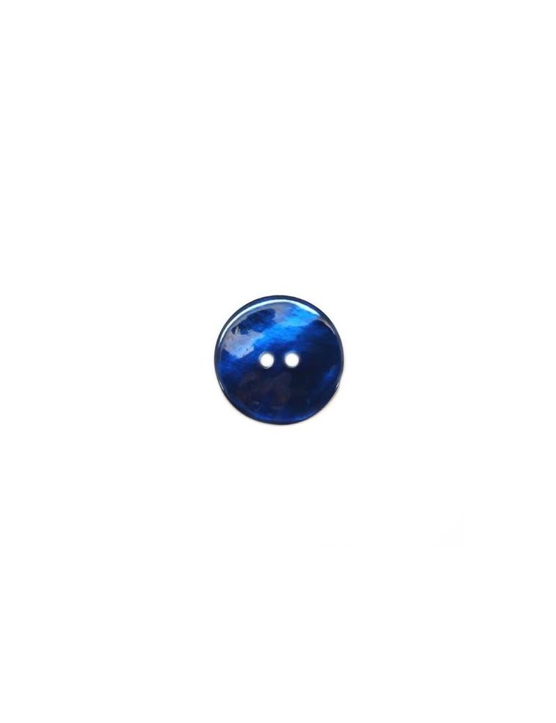 Bouton en nacre bleu marine 15 mm