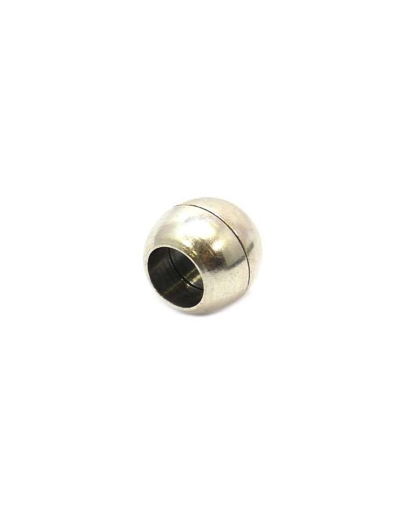Fermoir aimanté boule argent vieilli 10 mm