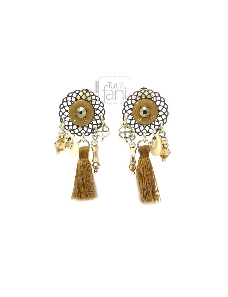 Boucles d'oreilles clips pompon camel