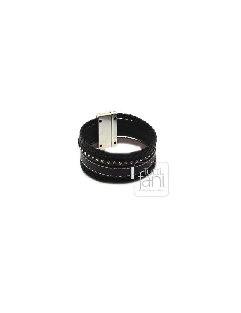 Manchette en cuir noir 30 mm