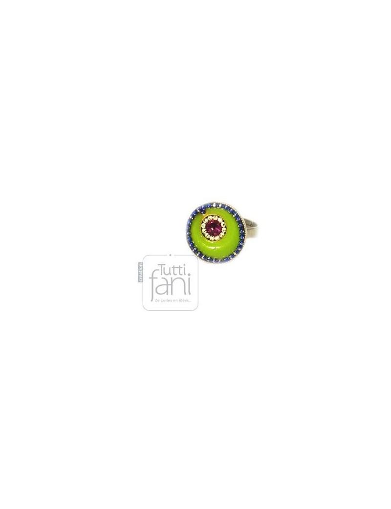 Bague colorée émaillée verte