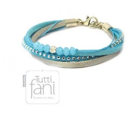 Bracelet multi-liens turquoise et gris