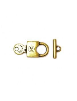 Fermoir boutonnière cadenas 16x40 mm bronze