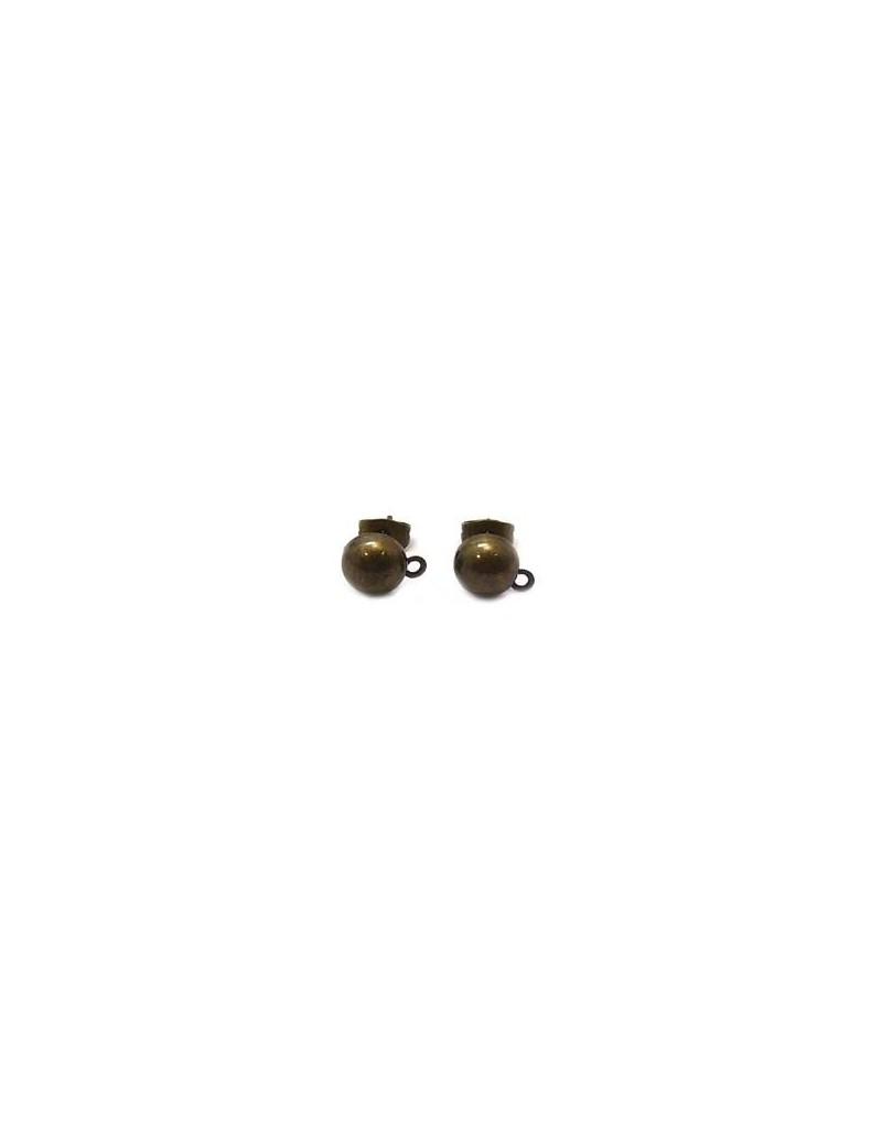 Boucles d'oreilles puce demi boule 8 mm bronze