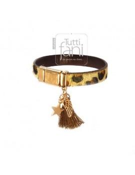 Bracelet en cuir léopard rose doré