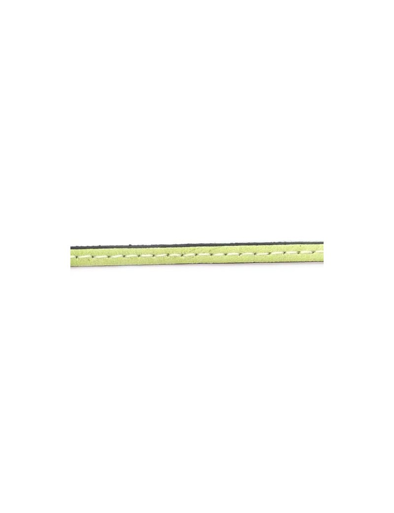 Cuir plat naturel 1 surpiqûre vert anis 5 mm - 10 cm