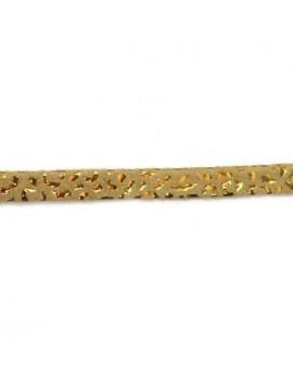Cuir plat naturel imprimé léopard beige foncé-doré 5 mm - 10 cm
