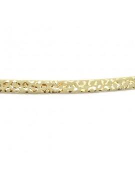 Cuir plat naturel imprimé léopard beige-argenté 5 mm - 10 cm