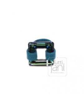 Bague carré en cristal Swarovski bleu
