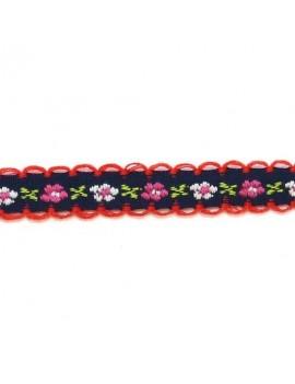 Ruban à fleurs roses fond bleu marine 10 mm - 50 cm