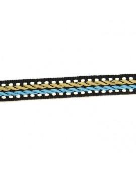 Ruban motif corde beige et bleu 10 mm - 50 cm