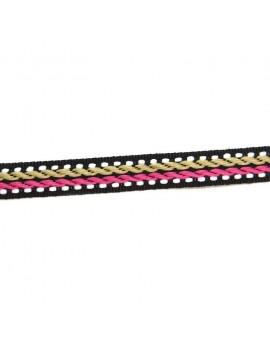 Ruban motif corde beige et fuchsia 10 mm - 50 cm