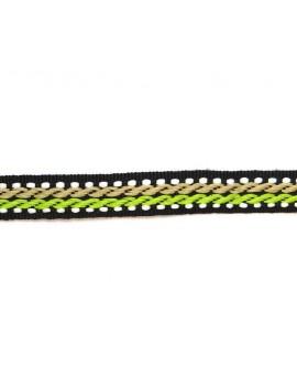 Ruban motif corde beige et vert 10 mm - 50 cm