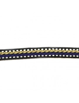 Ruban motif corde beige et violet 10 mm - 50 cm