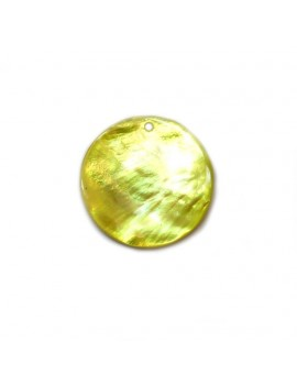 Sequin en nacre jaune 25 mm