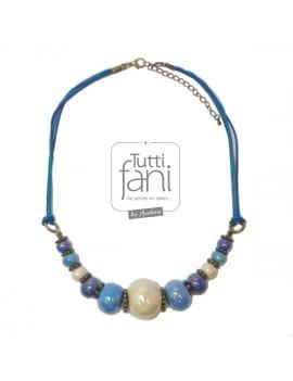 Collier bleu perles en céramique et cordons