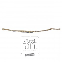 Bracelet multi-cordons bleu-doré