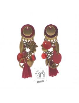 Boucles d'oreilles rouges et dorées à breloques