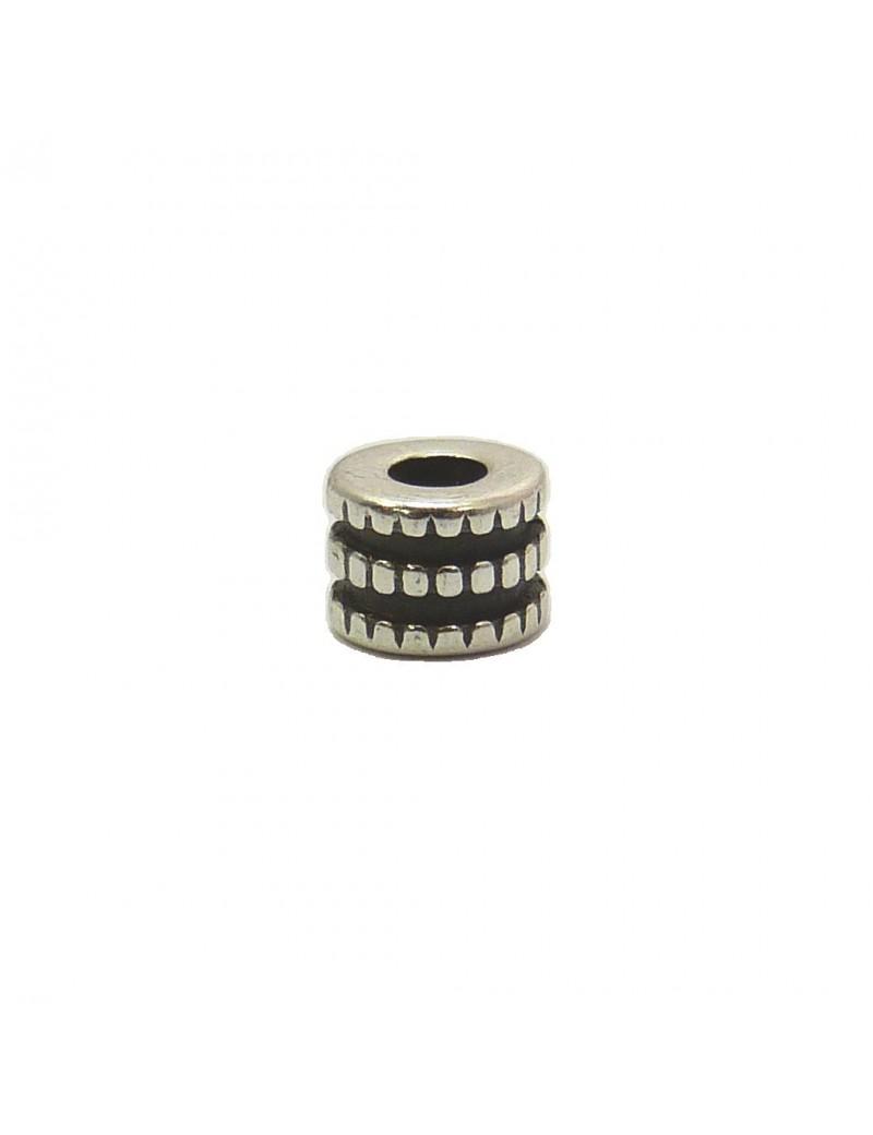 Perle roue argent vieilli 5x6 mm
